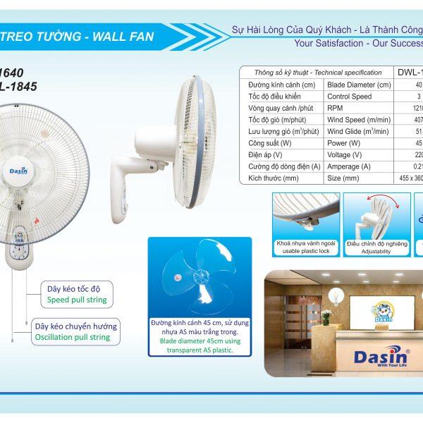 quạt treo tường dasin DWL-1640-2