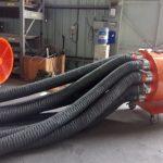 Lắp đặt ống gió mềm vải D150 vào máy thổi khí