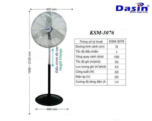 Quạt công nghiệp chân đứng KSM-3076 của Dasin